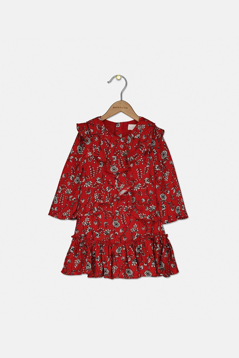Girl's Long Sleeves Ruffle-Hem Dress, Bright Red