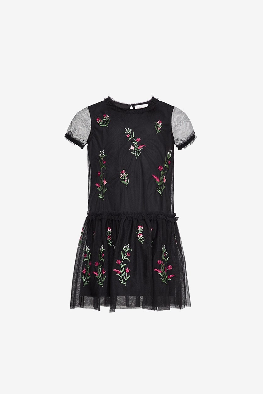 Girl's Embroidered Floral Illusion Dress, Black