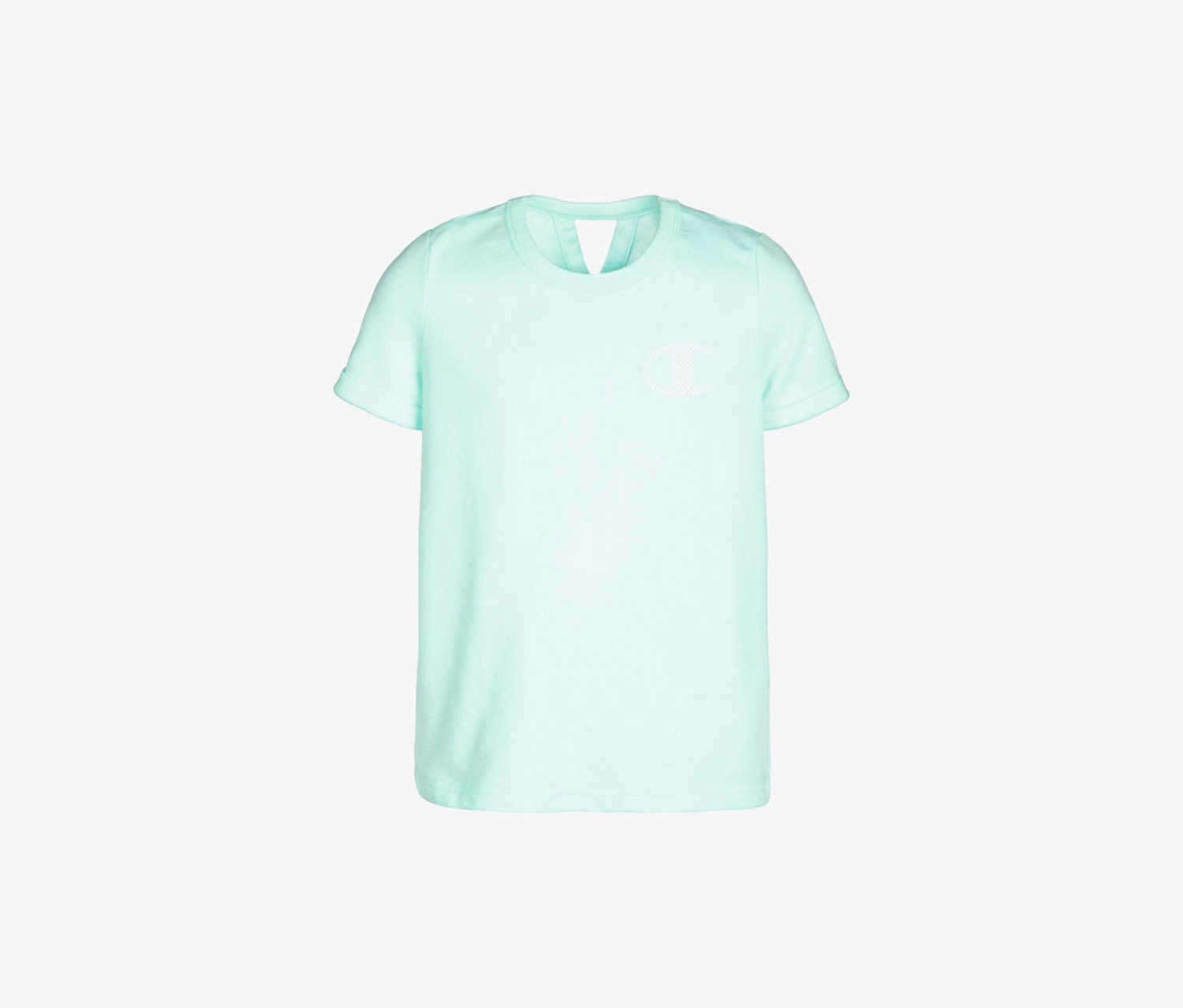 Girls French Terry Logo T-Shirt, Waterfall Green