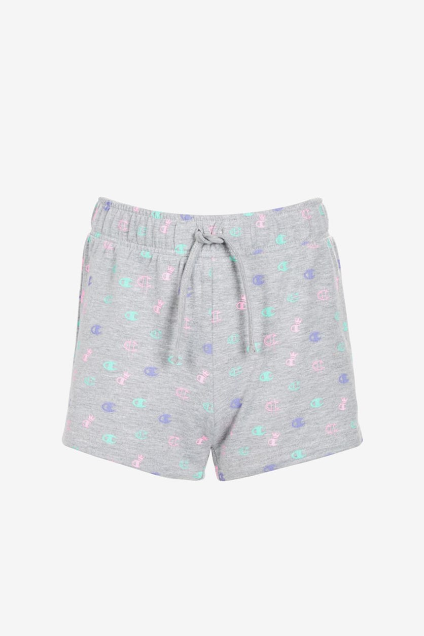 Little Girls Allover Print French Terry Shorts, Grey Combo