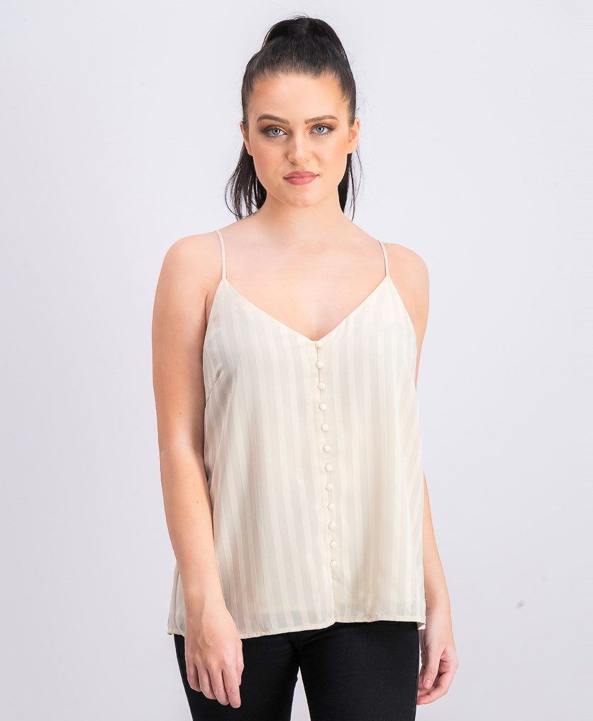 Women's Leisha Button Front Cami Top, Cream