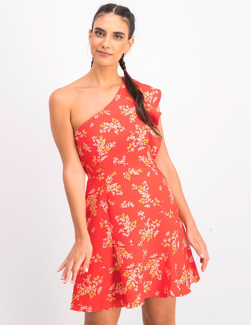 Women's One Shoulder Floral Print Dress, Red Combo