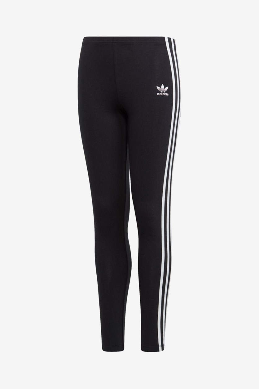 Big Girls 3-Stripes Leggings, Black