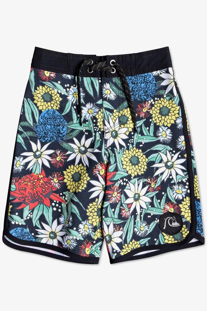 Little Boys Highline Floral-Print Swim Trunks, Black