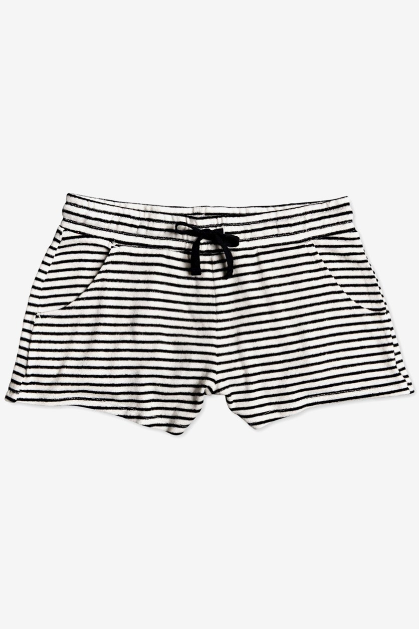Big Girls Striped Fleece Shorts, Black/White