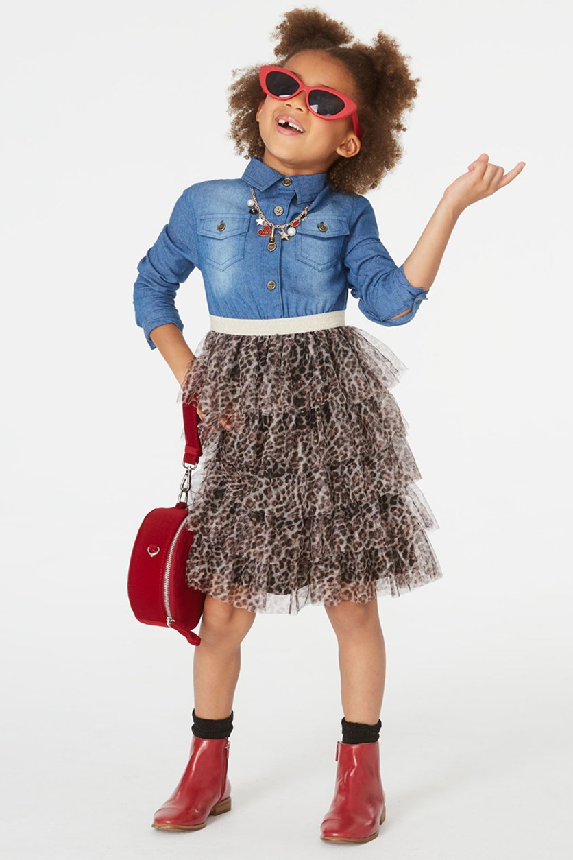 Little Girls Denim & Leopard-Print Tiered Dress, Denim