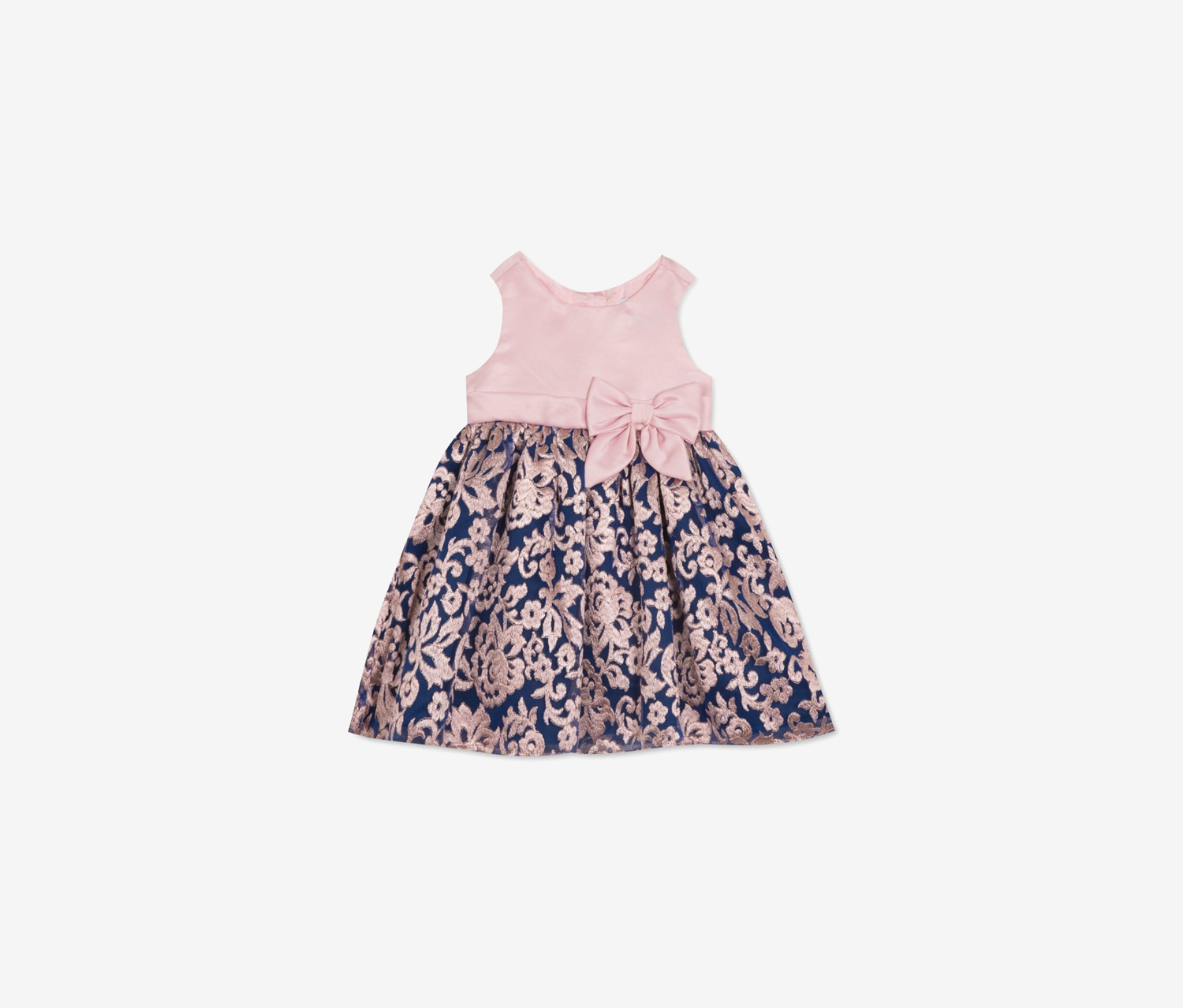 Baby Girls Embroidered Mikado Dress, Pink/Royal