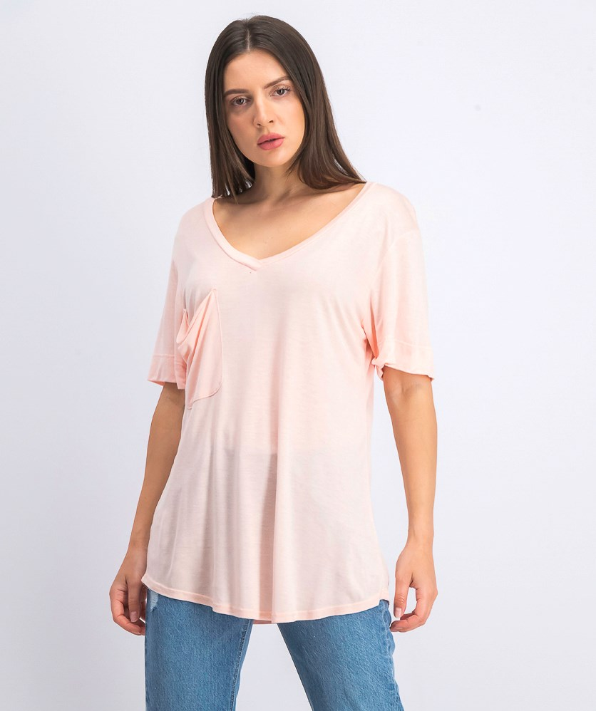 Women's Short Sleeve  V-neck Tee, Peach