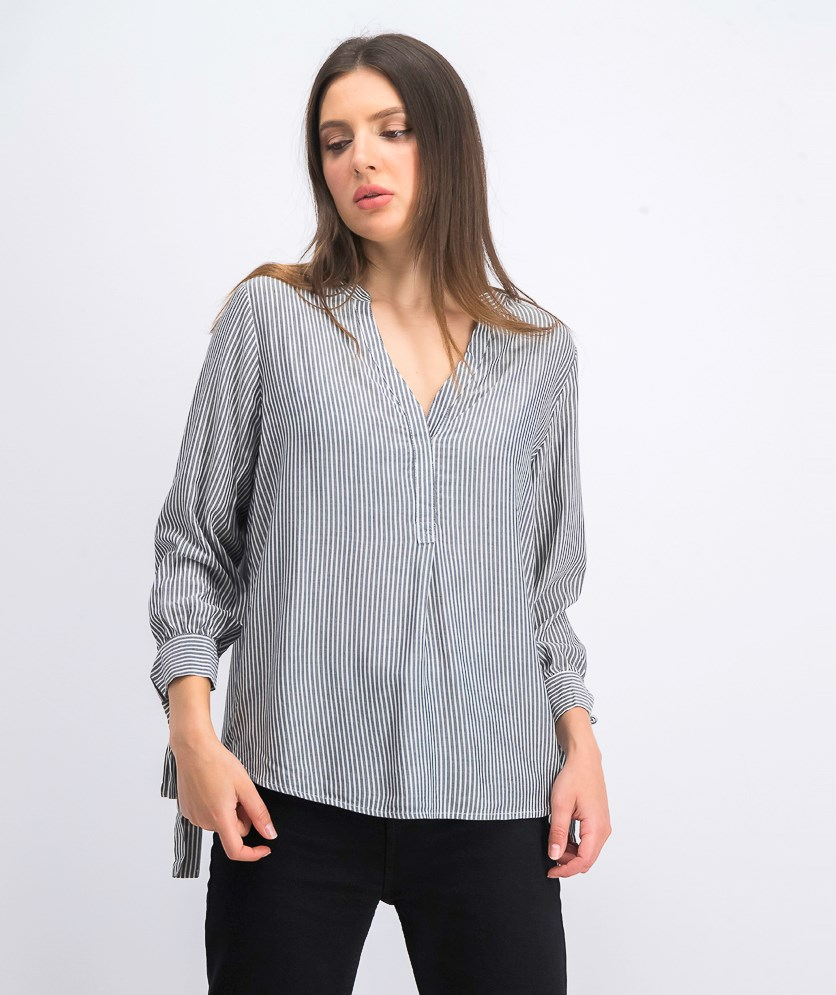 Women's Tie Sleeves Top, Grey/White