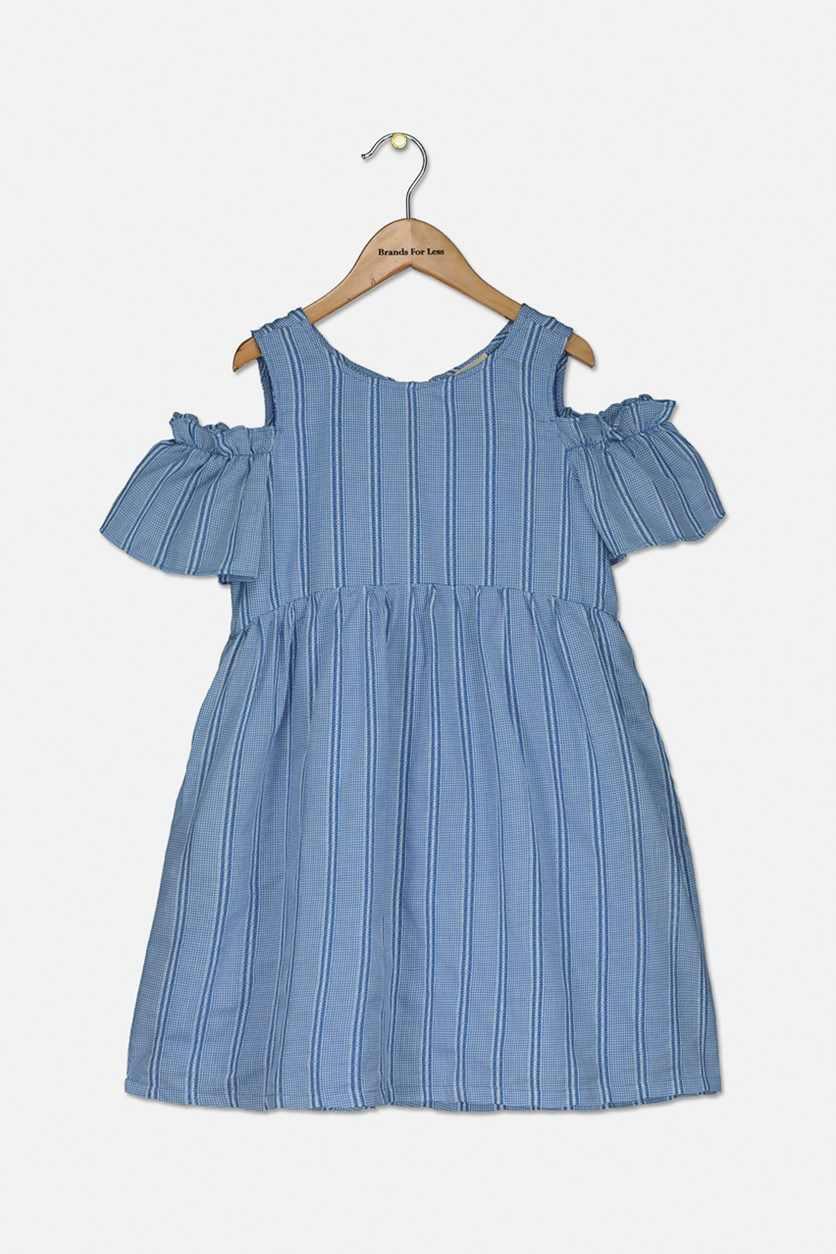 Kids Girls Striped Dress, Blue/White