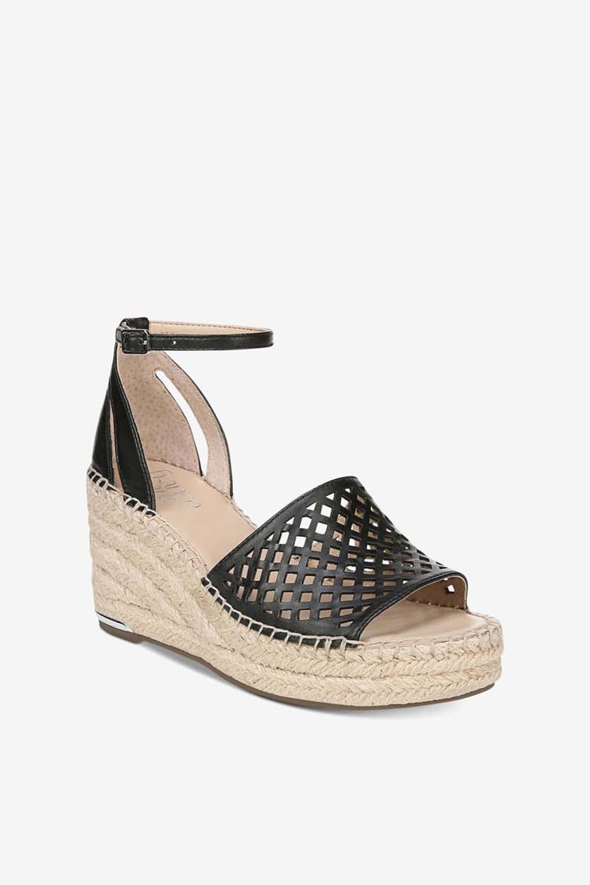 Women's Calabria Leather Open Toe Casual Wedge Sandals, Black