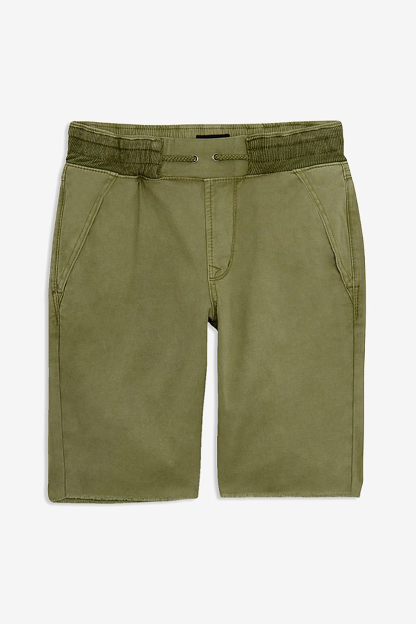 Toddler's Boys Pull On Frayed Hem Shorts, Moss