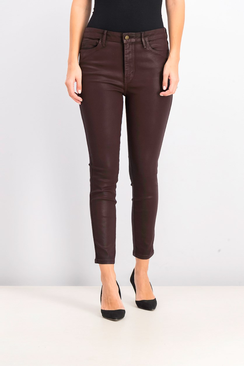Women's Coated Pants, Burgundy