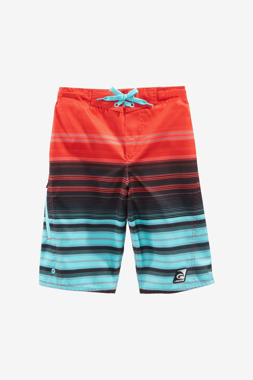 Big Boys Summer Stripe Swim Trunks, Bitter Sweet