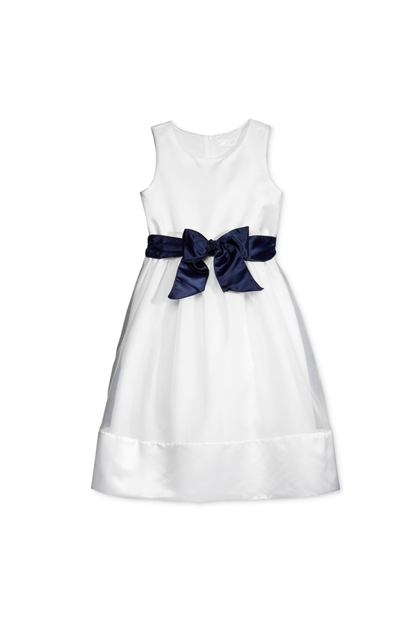 Toddler Girls Contrast Sash Dress, Ivory/Navy