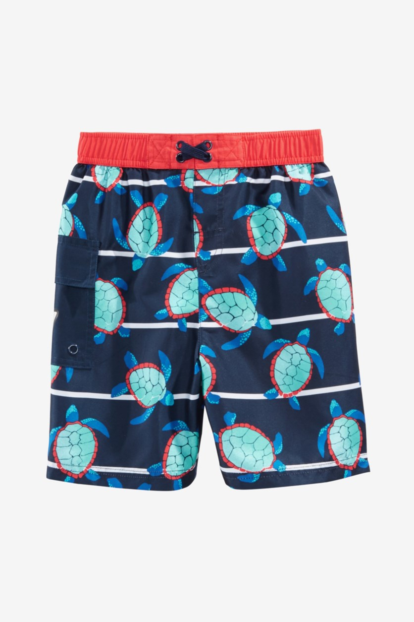 Toddler Boys Turtle Bay Swim Trunks, Navy Blue Combo