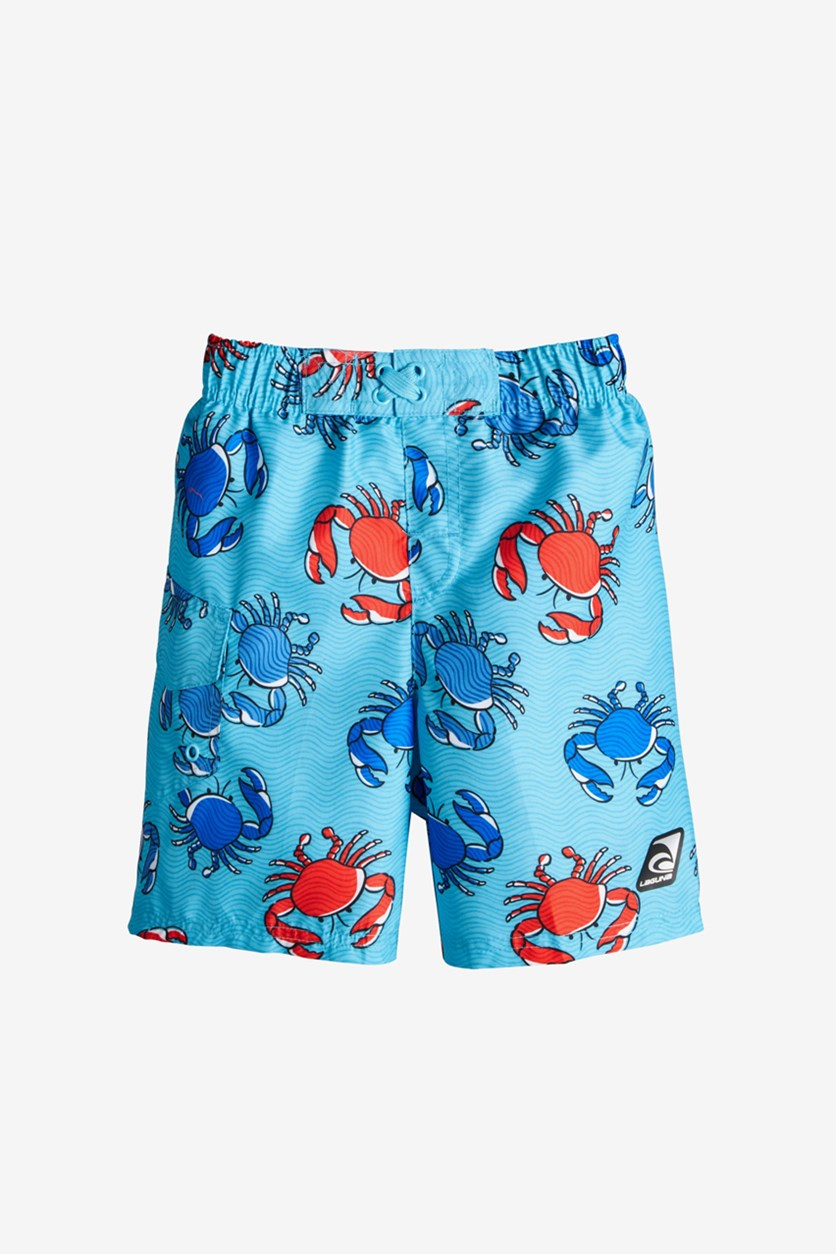 Little Boys Crab-Print Swim Trunks, Blue