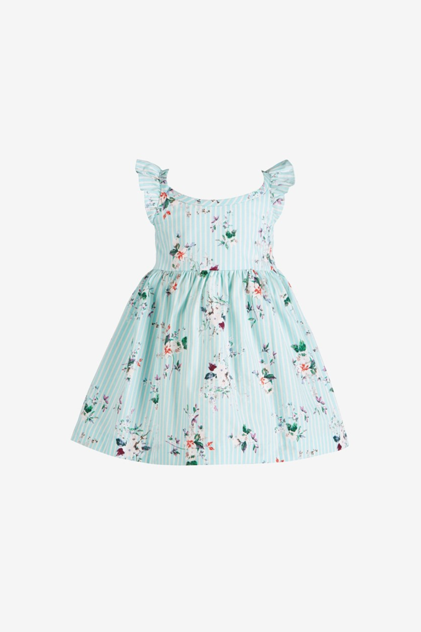Baby Girls Floral-Print Flutter Dress, Turquoise