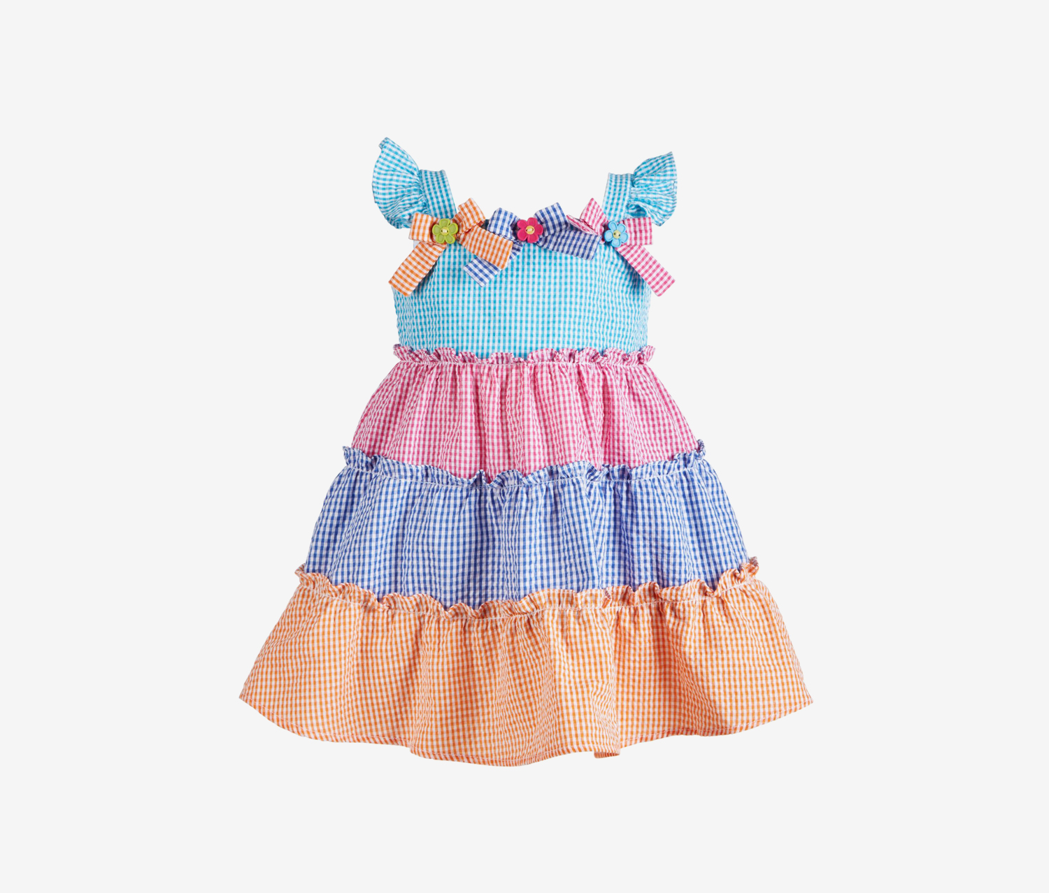 Baby Girls Tiered Gingham Sundress, Blue/Pink Combo