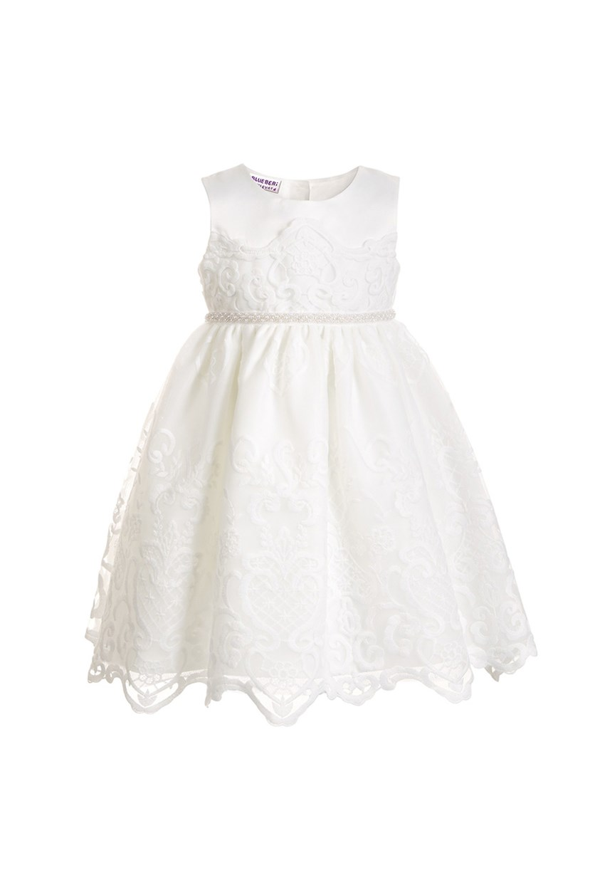 Big Girls Embroidered Dress, White