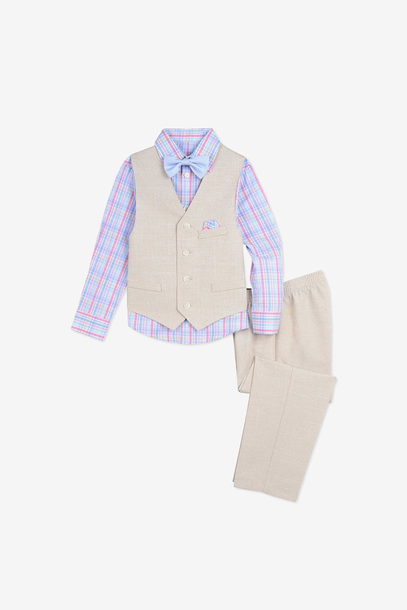 Baby Boys 4-Pc. Shirt, Vest, Pants & Bowtie Set, Khaki Combo
