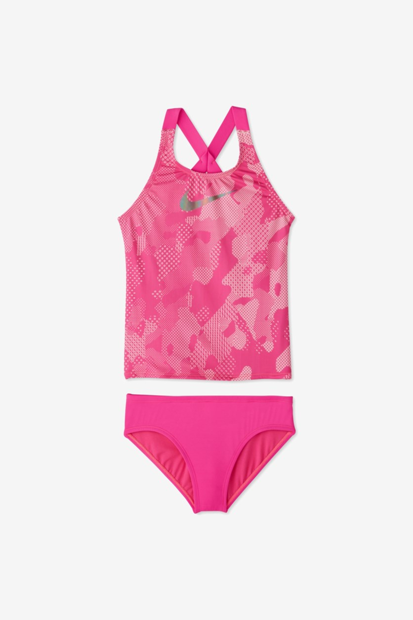 Girls 2-Pc. Optic Camo Crossback Tankini Set, Fuchia