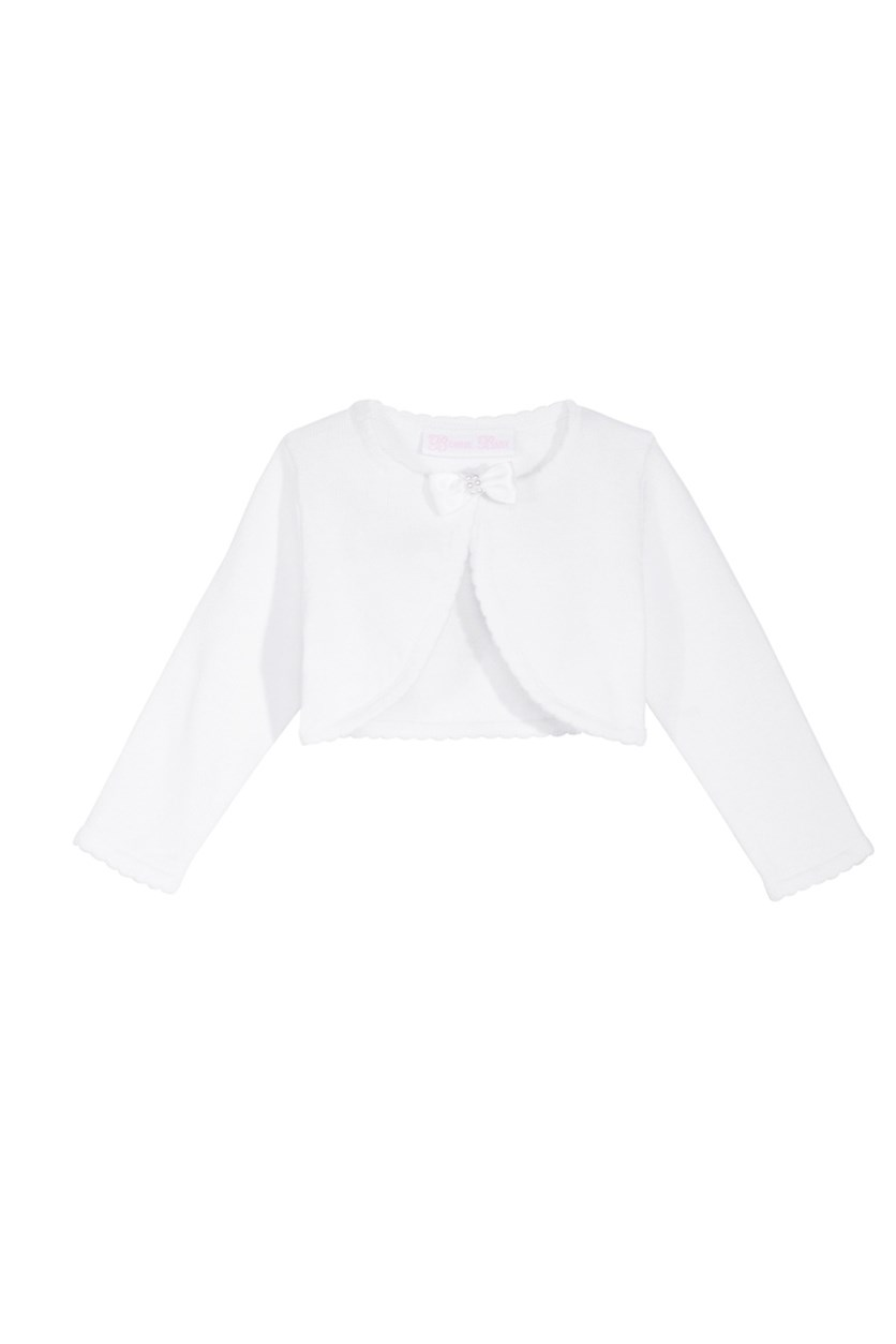 Toddler's Girls Bow Cotton Sweater, White