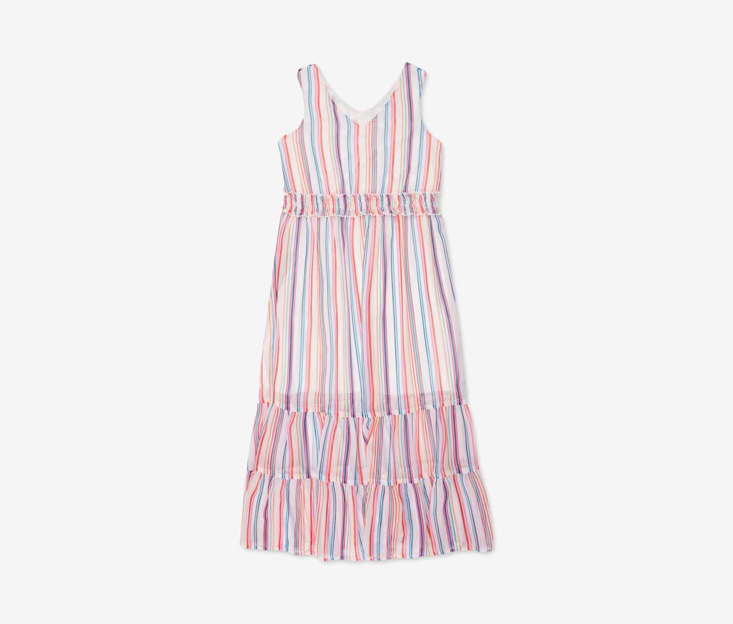 Big Girls Rainbow Stripe Maxi Dress, Ivory Combo