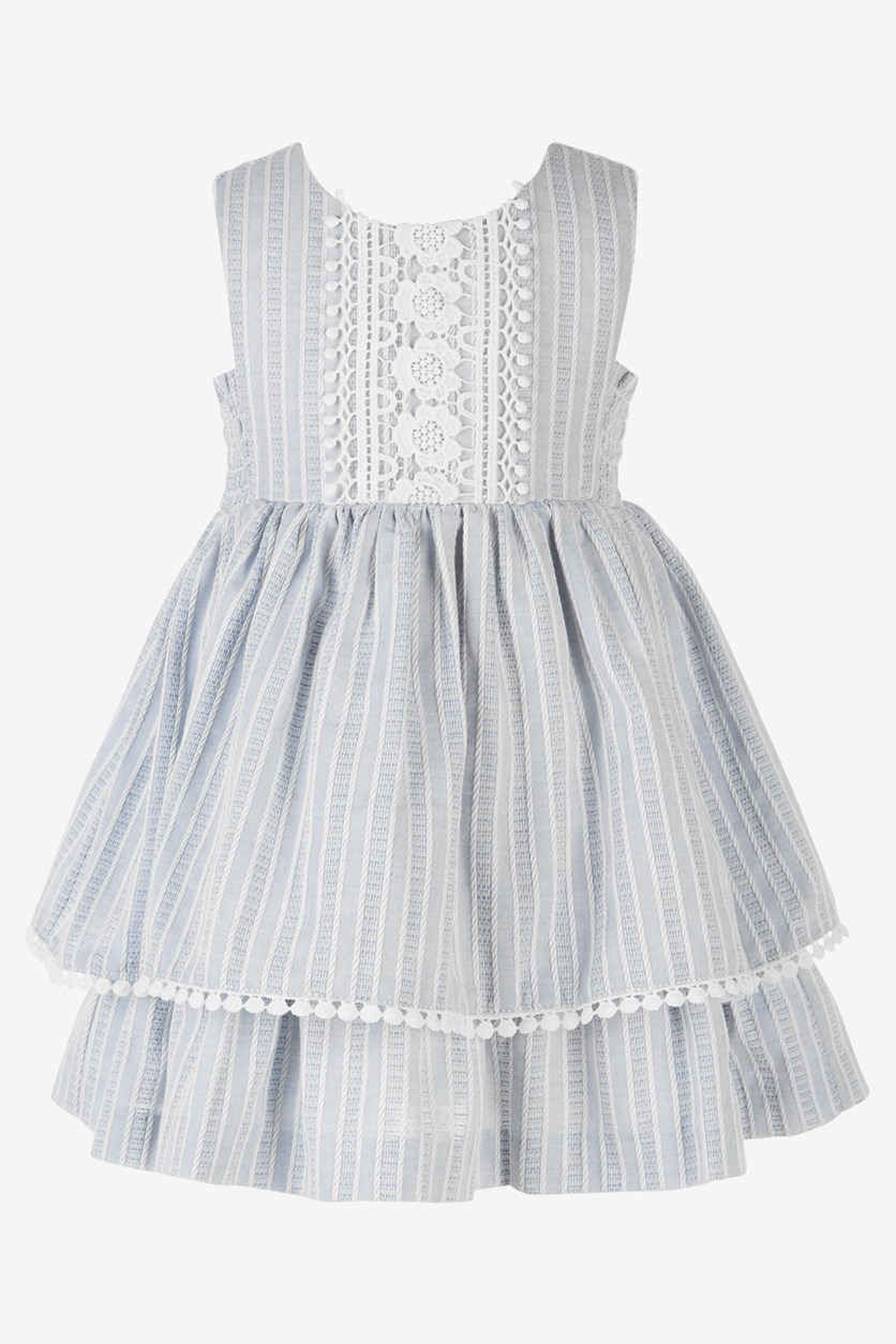 Baby Girls Chambray & Lace Striped Dress, Light Blue