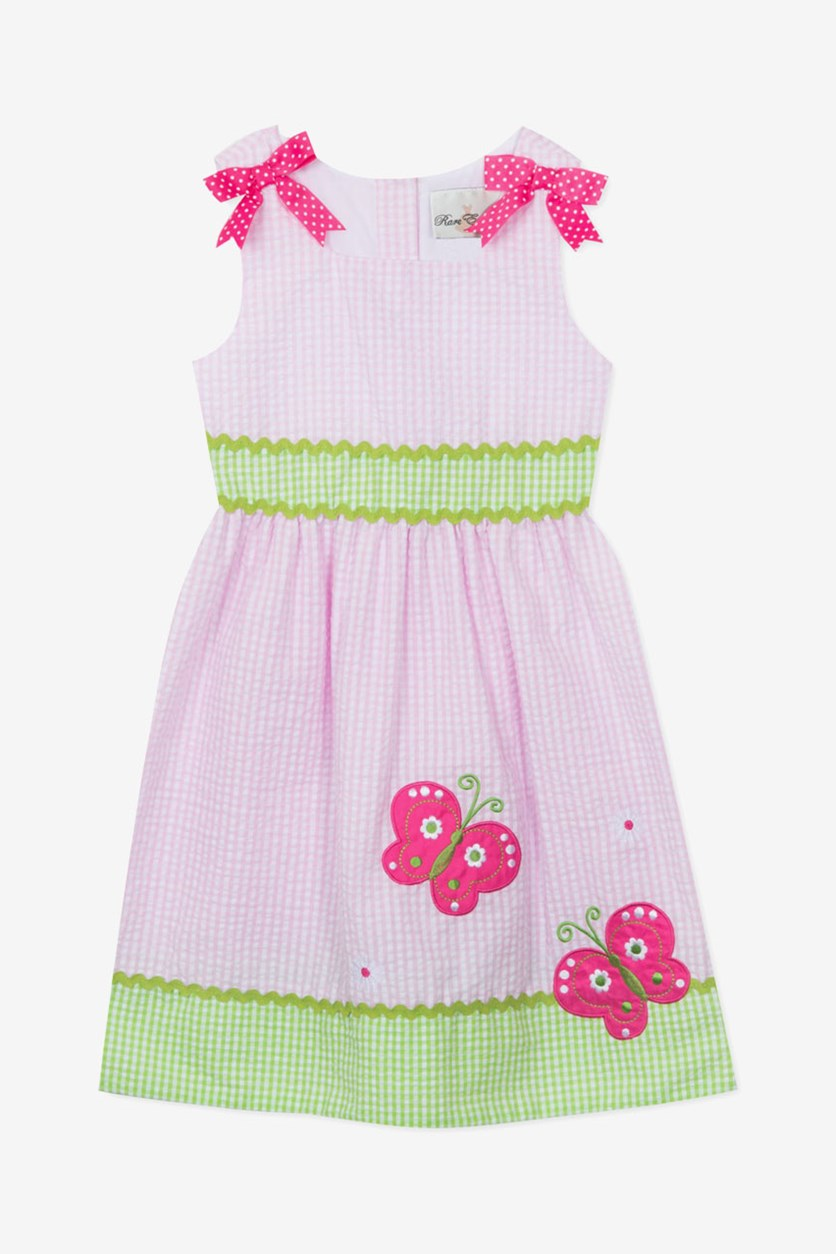 Toddler Girls Gingham Seersucker Butterfly Applique Dress, Pink/Green