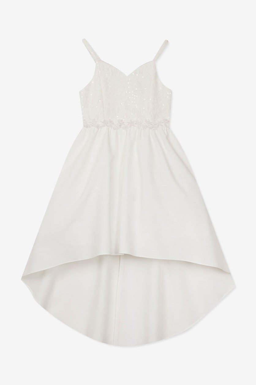Toddler Girls Sequin Lace Dress, White