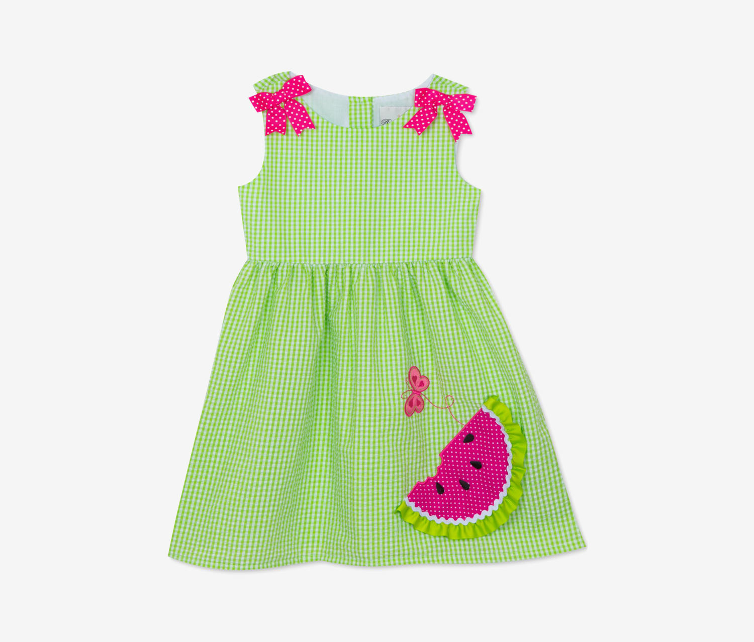Baby Girls Watermelon Gingham Dress, Lime/Pink/White