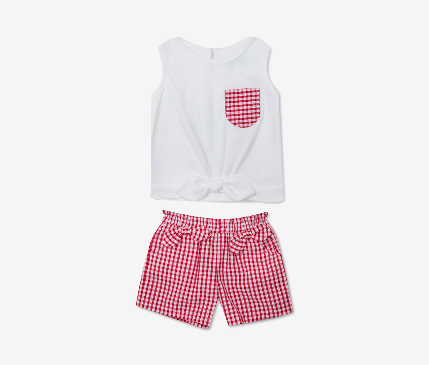 Baby Girls 2-Pc. Bow-Trim Top & Gingham Shorts Set, White/Red