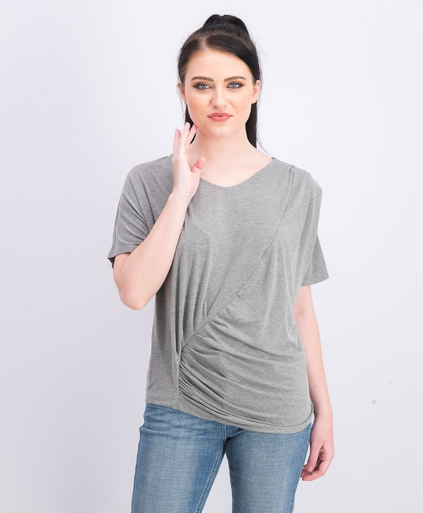 Women's V Neck Draped Tee, Grey