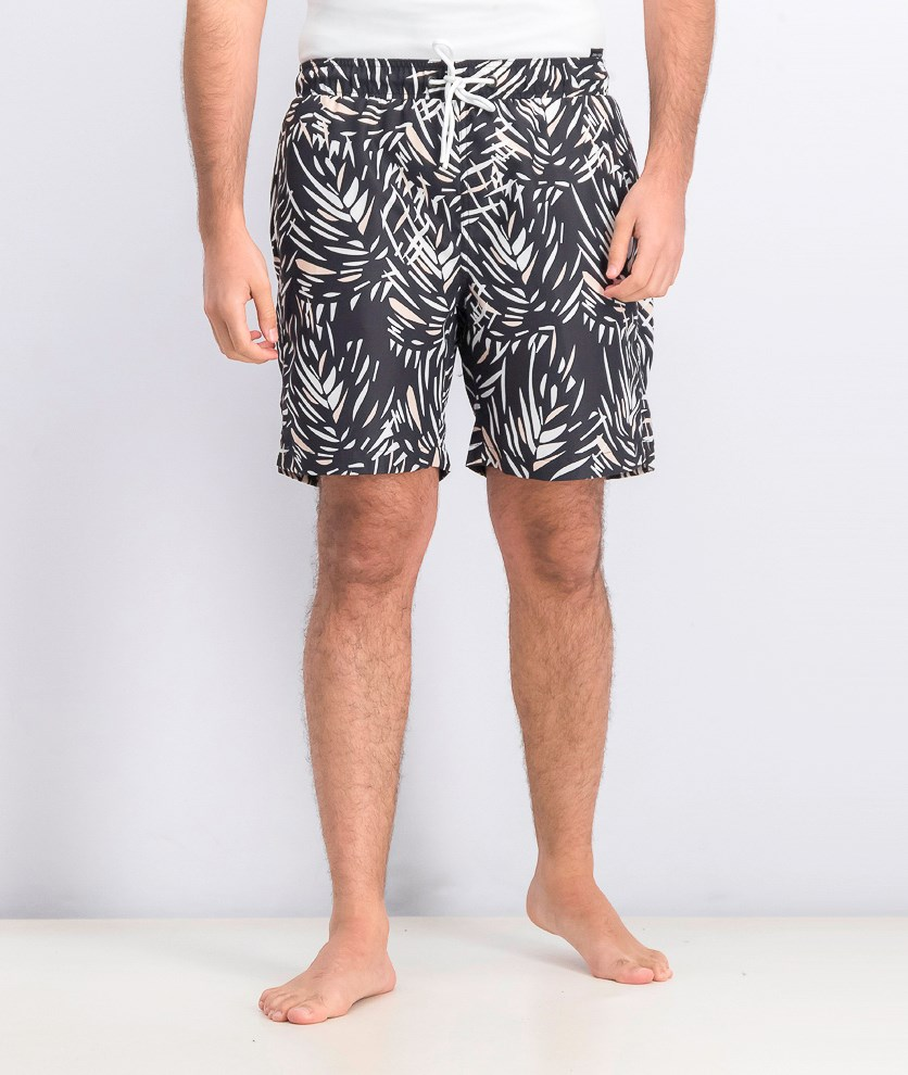 Men's Slant Pocket Swim Trunks, Black/White