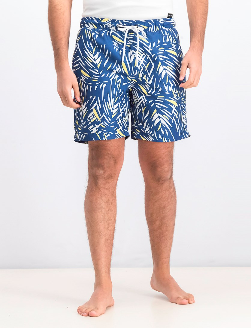 Men's Graphic Print Swim Trunks, Blue/White/Yellow