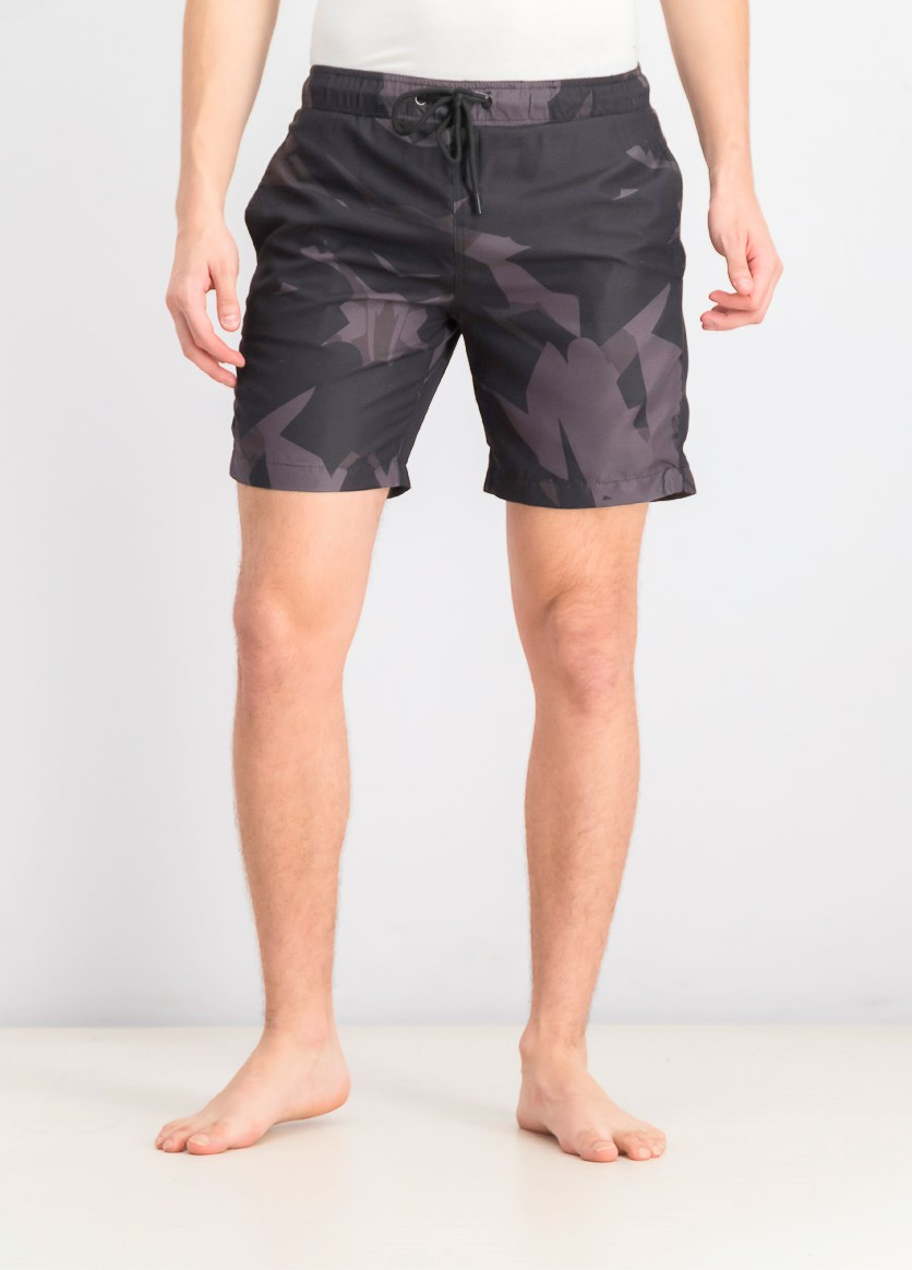 Men's Visual Art Swim Trunks, Black Combo