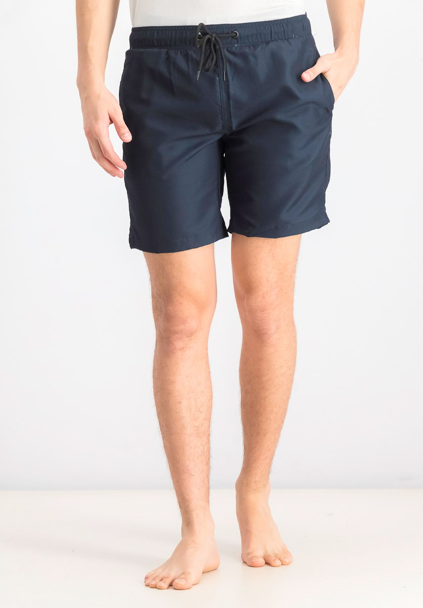Men's Plain Swim Trunks, Navy