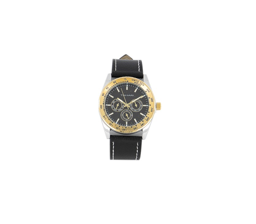 Men's Genuine Leather Analog Watch, Black/Gold