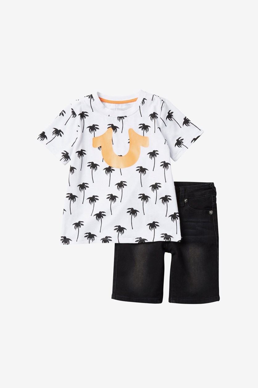 Toddlers Allover Palm Tee Set, Black/White