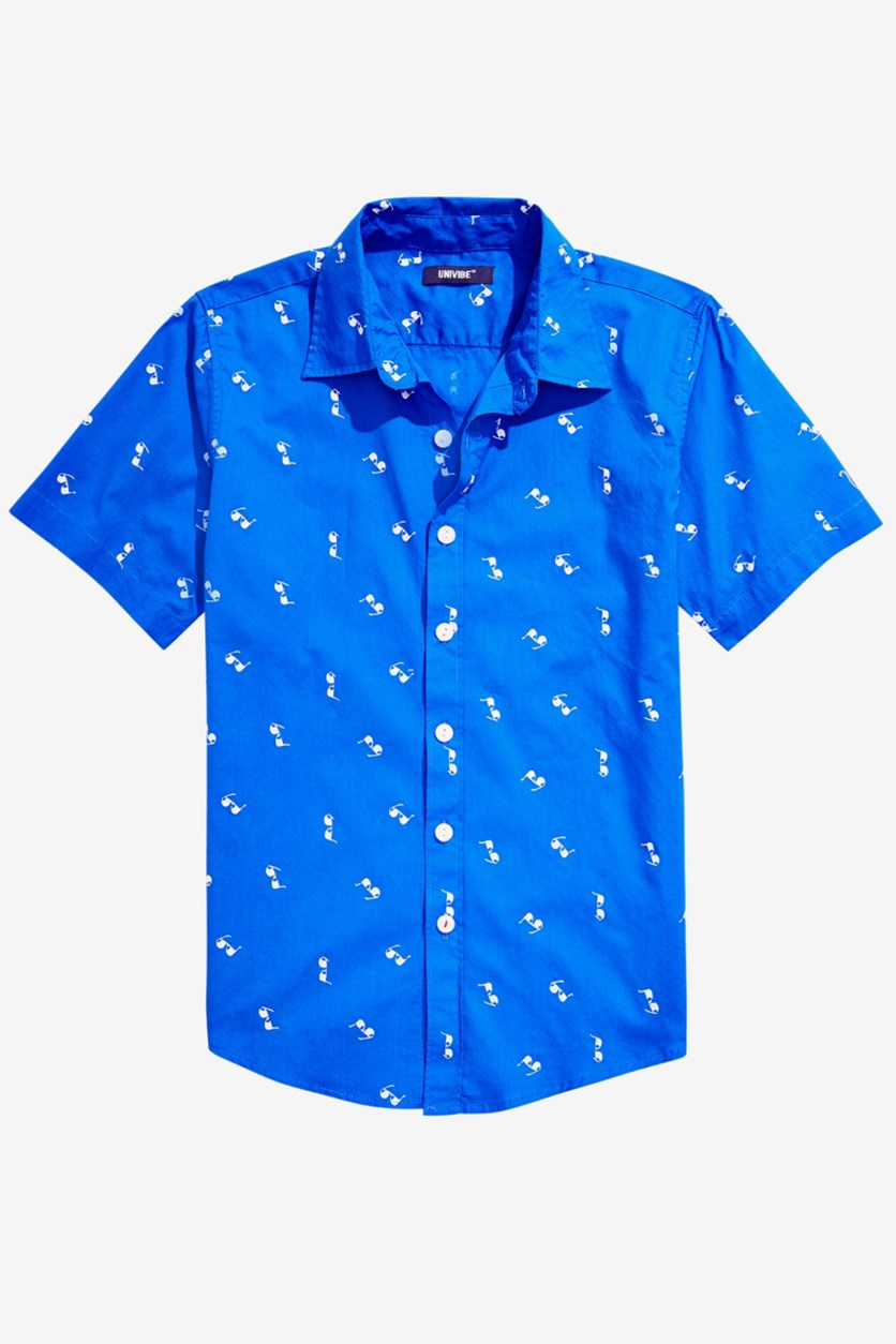 Big Boys Smarties Sunglass-Print Shirt, True Blue