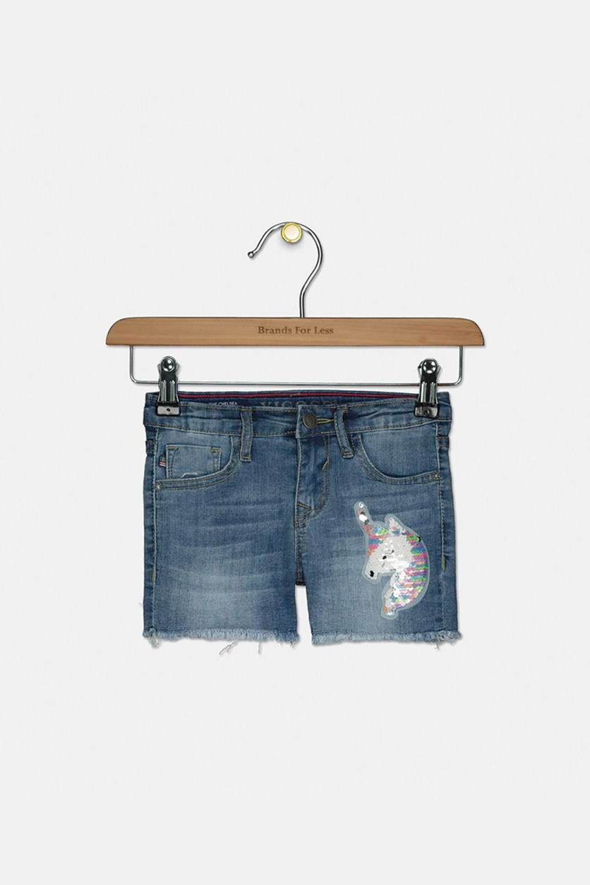 Toddler Girl's My Big Unicorn Denim Shorts, Blue Collar
