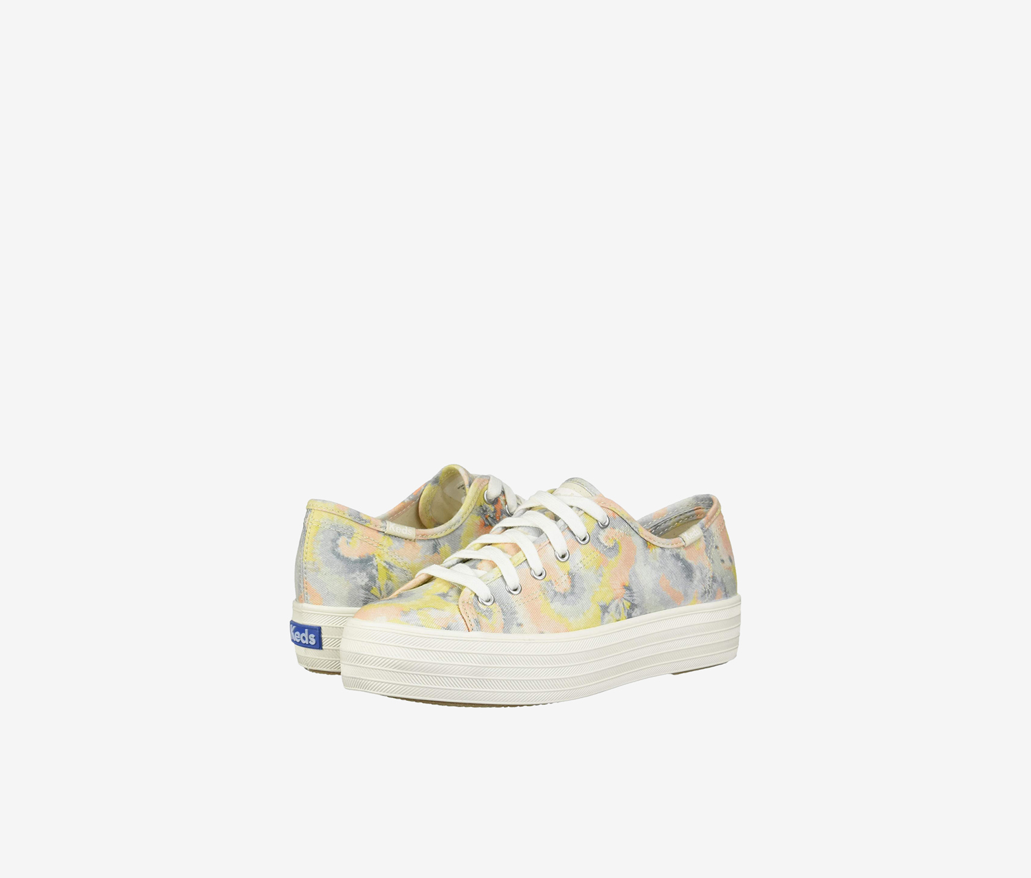 Women's Triple Kick Tie-Dye Shoes, White Combo