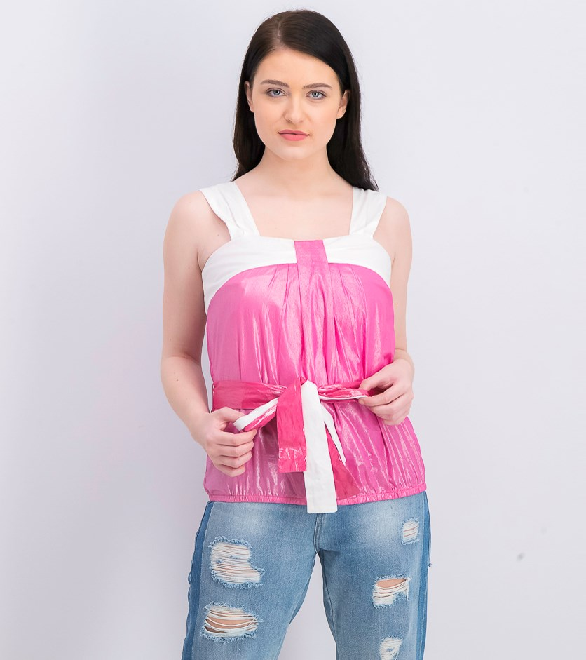 Women's Belted Top, White/Pink