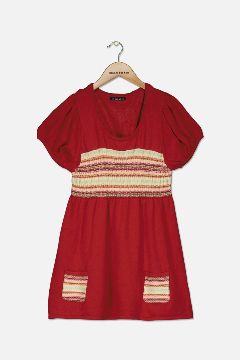 Girls Pullover Textured Dress, Red
