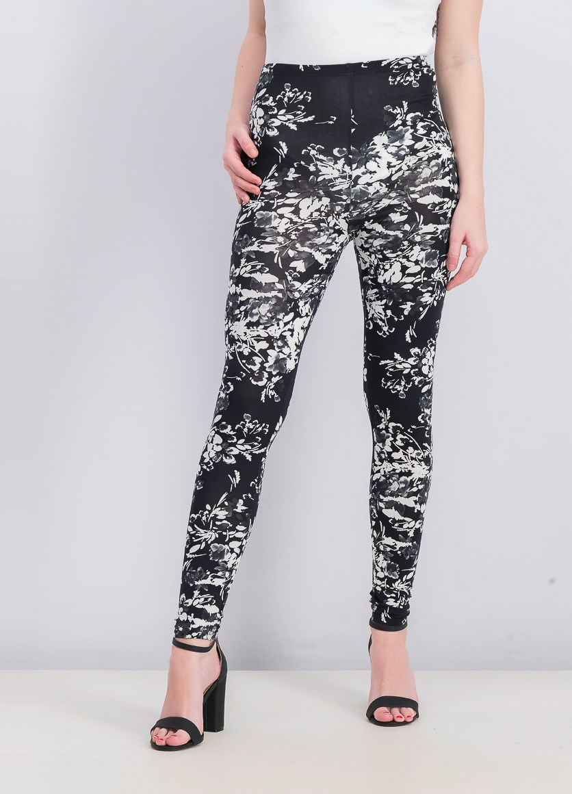 Women's Floral Leggings, Black