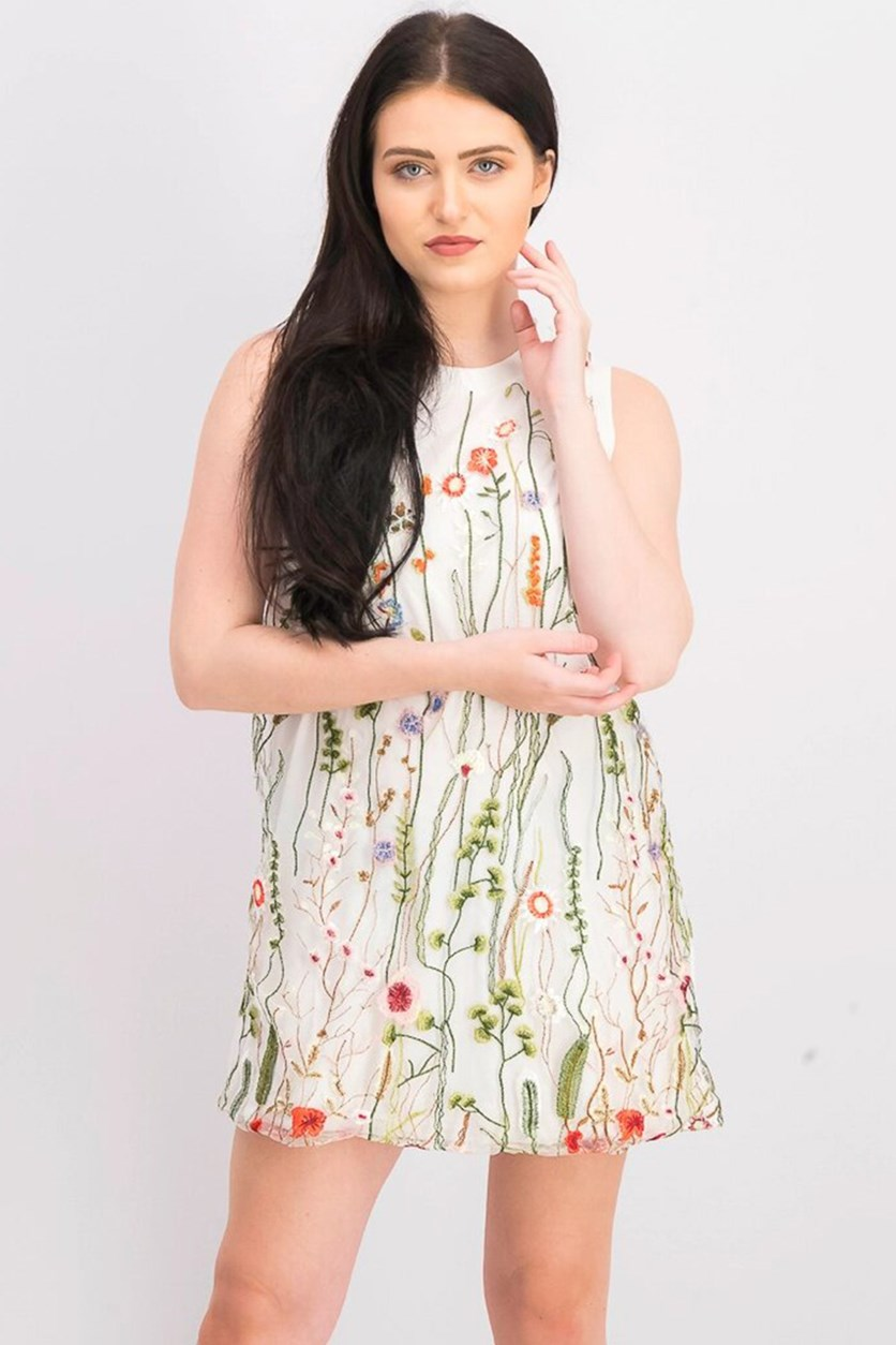 Womens Floral Embroidered Dress, Ivory Combo