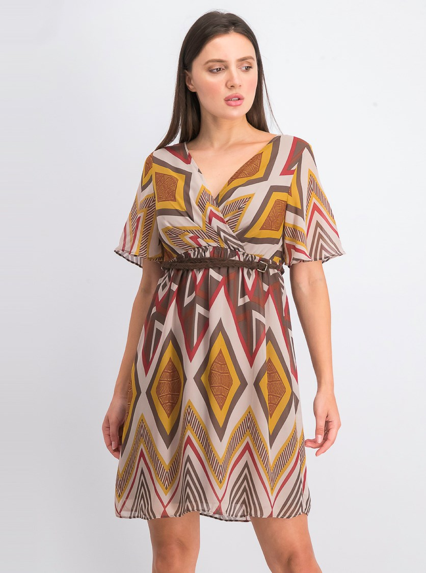 Womens Printed Belted Dress, Brown/Maroon Combo