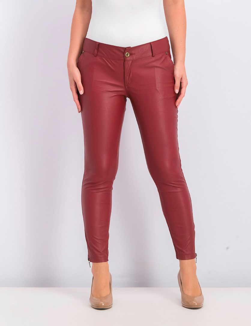Women's Leather Crop Flare Pants, Burgundy