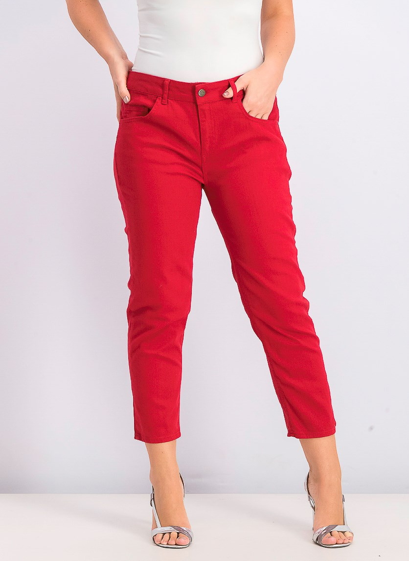 Women's 5 Pockets Pants, Red